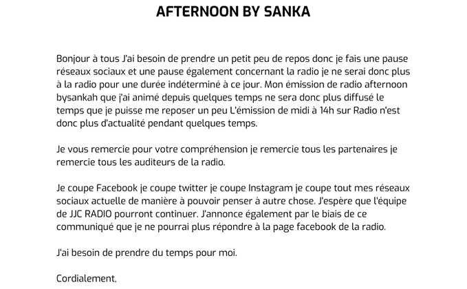 SANKA arrêt émission Afternoon by SANKA